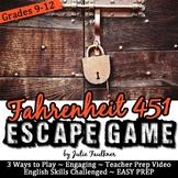 Escape Game Break Out Lock Box Activity, Fahrenheit 451