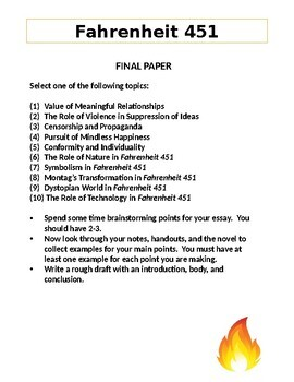 Fahrenheit 451:  Final Paper Guidelines
