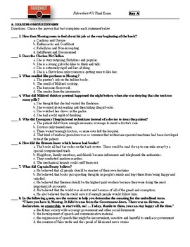 Fahrenheit 451 Final Test by E Swinney | Teachers Pay Teachers