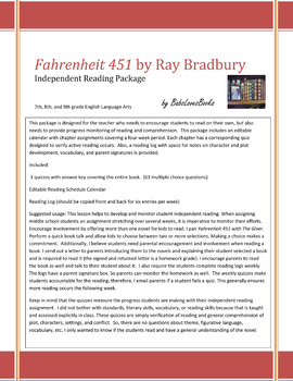 Fahrenheit 451 Independent Reading Package with Quizzes!
