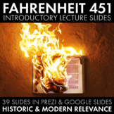 Fahrenheit 451 Introductory Lecture Slides for Bradbury's Sci-Fi Novel F451 CCSS
