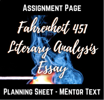 Fahrenheit  Literary Analysis Essay By English By Edwards  Tpt Fahrenheit  Literary Analysis Essay