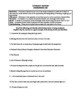 Fahrenheit 451 Literary Devices and Figurative Language Activity