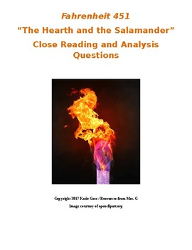 Fahrenheit 451 Part 1 Close Reading / Analysis Text-dependent Questions