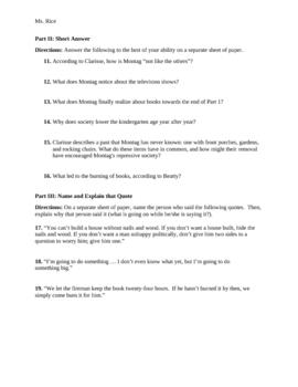 Fahrenheit 451 Part 1 Quiz (The Hearth and the Salamander)