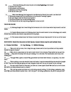 """Fahrenheit 451"" Part 1 Reading Comprehension Test"