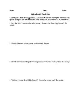 Fahrenheit 451 - Part 2 Quiz - CCSS Aligned