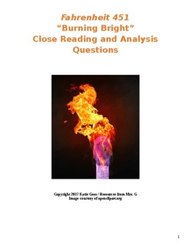 Fahrenheit 451 Part 3 Close Reading / Analysis Text-dependent Questions