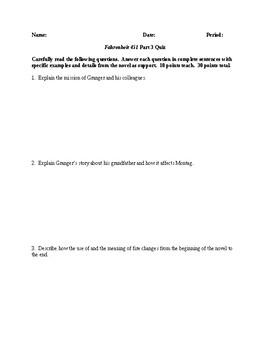 Fahrenheit 451 - Part 3 Quiz - CCSS Aligned