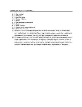 Fahrenheit 451 Part I Quiz