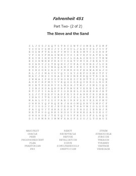 Fahrenheit 451 Part Two Vocabulary Word Search
