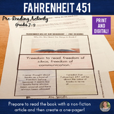 Fahrenheit 451 Pre-reading Activity - Close Reading + One Pager