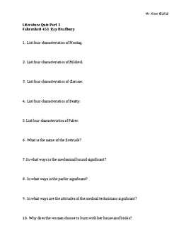 Fahrenheit 451 Quiz Part 1