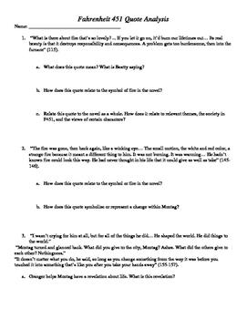 Fahrenheit 451 Quote Analysis
