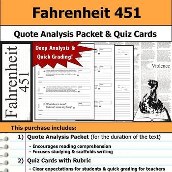 Fahrenheit 451 - Quote Analysis & Reading Quizzes