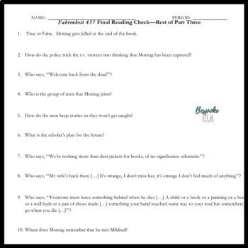 Fahrenheit 451 Reading Checks/ Reading Quizzes