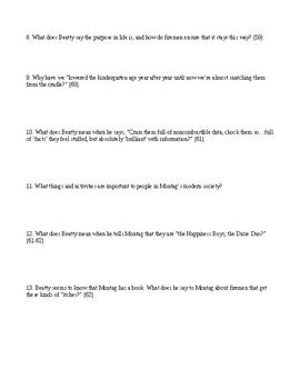 Fahrenheit 451 - Reading Comprehension Worksheet - Captain Beatty's speech