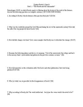 Fahrenheit 451 - Reading Comprehension Worksheet - Captain Beatty's speech