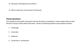 Fahrenheit 451 Reading Questions