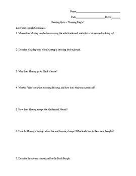 Fahrenheit 451 - Reading Quiz - Burning Bright