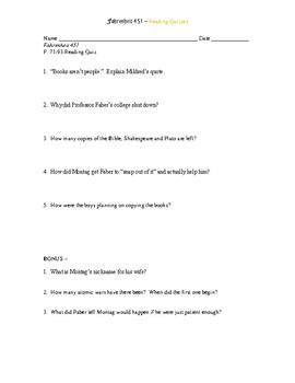 Fahrenheit 451 Reading Quizzes