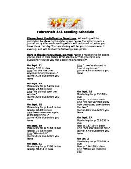 Fahrenheit 451 Reading Schedule and Quizzes