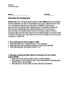 Fahrenheit 451 Sieve and Sand Differentiated Quiz