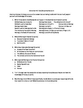 Fahrenheit 451 Tests and Keys