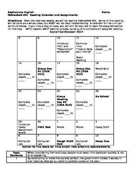 Fahrenheit 451 Unit Calendar and Journal