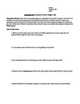 Fahrenheit 451 Unit- Literature Circles