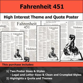 Fahrenheit 451 - Visual Theme and Quote Poster for Bulletin Boards