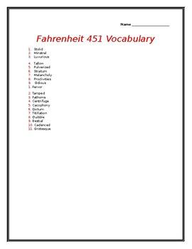 Fahrenheit 451 Vocabulary