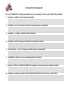Fahrenheit 451 Vocabulary Lists & Grammar Practice