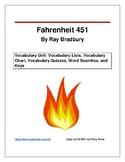 Fahrenheit 451 Vocabulary Unit: Word Lists, Chart, Quizzes