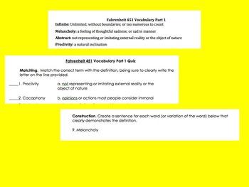 Fahrenheit 451 Vocabulary and Quizzes