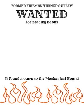 Fahrenheit 451 Wanted Poster By Prestonlessons Tpt