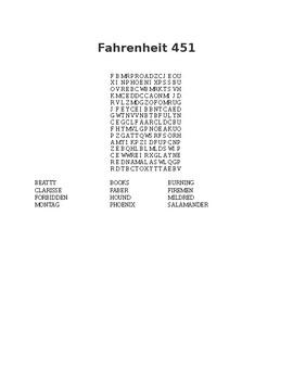 Fahrenheit 451 Wordsearch
