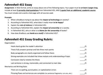 Fahrenheit 451 Writing Assignments