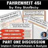 Fahrenheit 451 by Bradbury Part 1 Discussion: Procedures, Questions, & Handouts