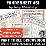 Fahrenheit 451 by Bradbury Part 3 Discussion: Procedures, Questions, & Handouts