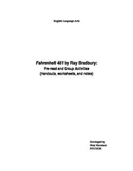 Fahrenheit 451 by Ray Bradbury: Worksheets, Group Activiti