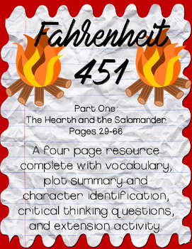 Fahrenheit 451 by Ray Bradbury Part One: Pages 29-66 Guide