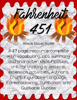 Fahrenheit 451 by Ray Bradbury Whole Novel  Guide *Bundle*