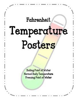 Fahrenheit Temperature Posters. Boiling Point Freezing Poi