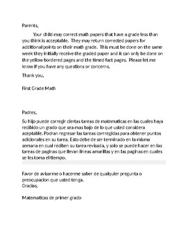 Failing Math May Correct Work English Spanish Letter to Parents