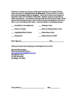Failing student letter (warning)