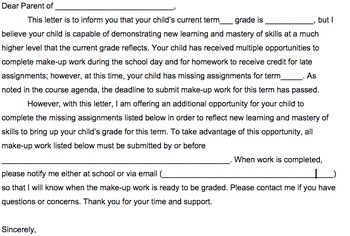 Failure Notification and Student Work Request Parent Letter