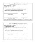 Failure to Submit Assignment Form - Back