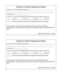 Failure to Submit Assignment Form - Front