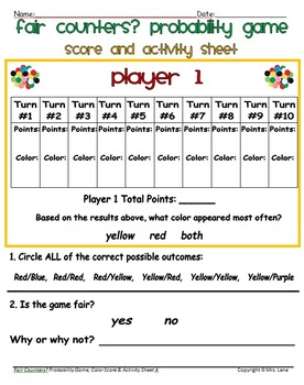 Fair Counters Probability Game